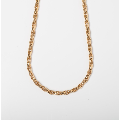 37 - A 9CT GOLD AND SILVER BONDED FANCY LINK CHAIN A 50cm long Fancy Link chain crafted in 1/10 9ct yello...