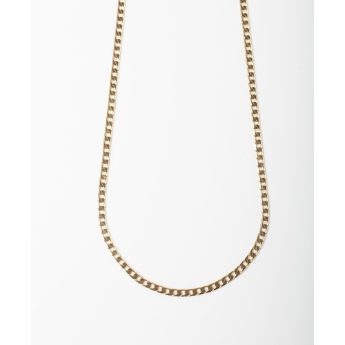 42 - A 9CT GOLD SQUARE CURB CHAIN A 60cm long Square Curb chain crafted in 9ct yellow gold weighing 6.38 ...