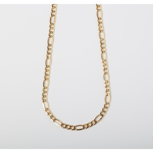 43 - A 9CT GOLD FIGARO CHAIN A 55cm long Figaro chain crafted in 9ct yellow gold weighing 7.64 grams....