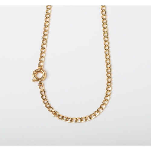 44 - A 9CT GOLD CURB CHAIN WITH SIGNORETTI CLASP A 50cm long Curb chain with a Signoretti Clasp crafted i...