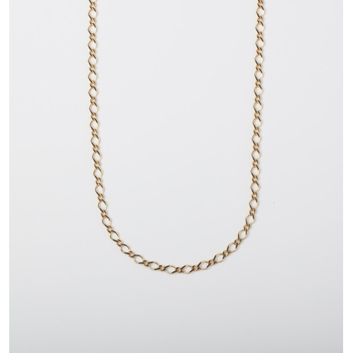 45 - A 9CT GOLD FANCY LINK CHAIN A 50cm long Fancy Link chain crafted in 9ct yellow gold weighing 4.58 gr...