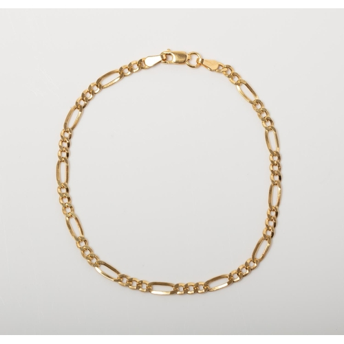 47 - A 9CT GOLD FIGARO BRACELET A 19cm long Figaro bracelet crafted in 9ct yellow gold weighing 1.62 gram...