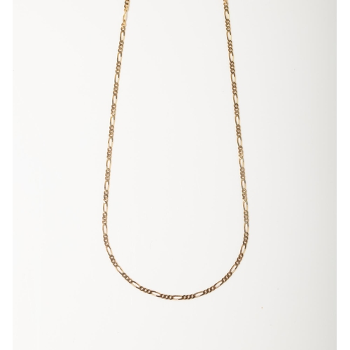 55 - A 9CT GOLD FIGARO CHAIN A 50cm long Figaro chain crafted in 9ct yellow gold weighing 2.78 grams....