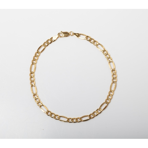 57 - A 9CT GOLD FIGARO BRACELET A 21cm long Figaro bracelet crafted in 9ct yellow gold weighing 2.25 gram...