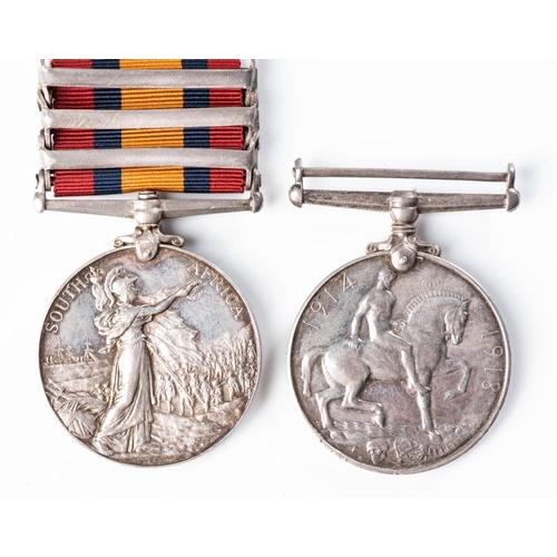 12 - KILLED IN ACTION BOER WAR WW1 PAIR.  BOER WAR QUEEN'S SOUTH AFRICA MEDAL TO BORDER HORSE, GORRINGEâ€...