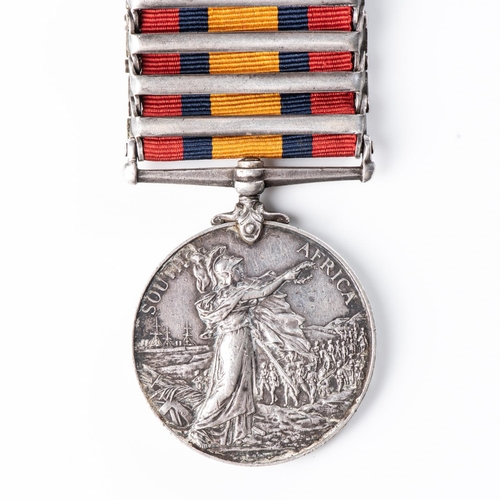 6 - BOER WAR QUEEN'S SOUTH AFRICA MEDAL TO THE IMPERIAL YEOMANRY (ROYAL EAST KENT YEOMANRY). Four clasps...