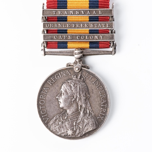 9 - BOER WAR QUEEN'S SOUTH AFRICA MEDAL TO UITENHAGE VOLUNTEER RIFLES Three clasps, Cape Colony, Orange ...