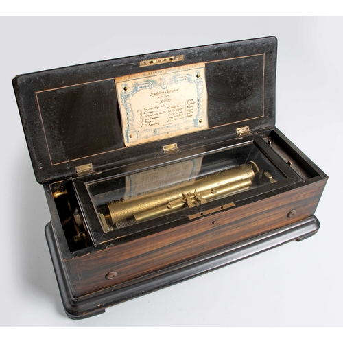 61 - A SWISS ROSEWOOD, EBONISED AND INLAID MUSICAL BOX, B. A. BREMOND, GENEVA, 19TH CENTURY...