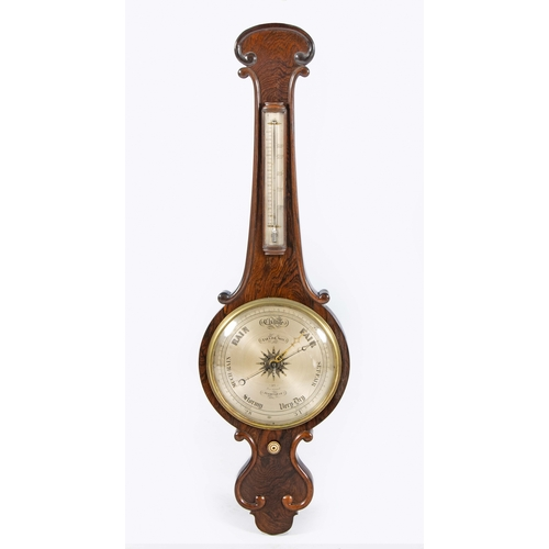 62 - A ROSEWOOD BANJO BAROMETER, FIELD AND SON, BIRMINGHAM,19TH CENTURY...