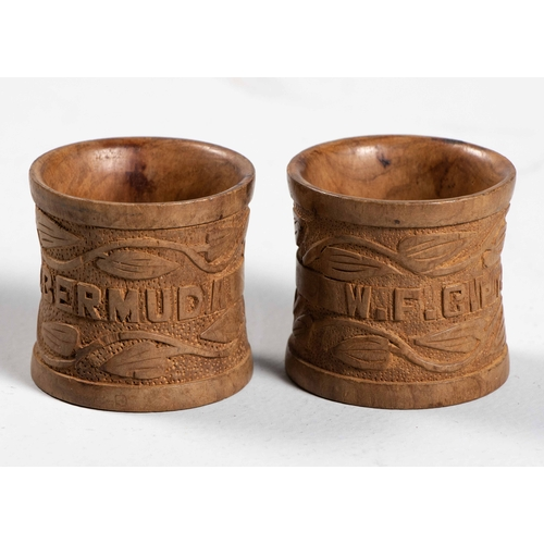 68 - A PAIR OF ANGLO-BOER PRISONER OF WAR WOODEN NAPKIN RINGS...