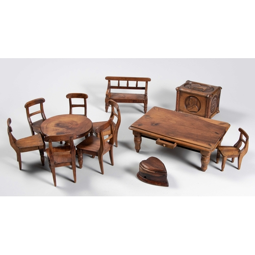 69 - A COLLECTION OF ANGLO-BOER PRISONER-OF-WAR MINIATURE FURNITURE, ST HELENA, CIRCA 1901...