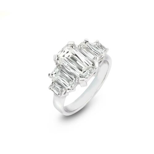 A 5 STONE CRISS CUT DIAMOND ENGAGEMENT RING