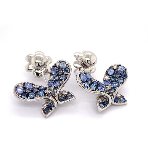 19 - A PAIR OF BUTTERFLY DESIGN SAPPHIRE & DIAMOND DROP EARRINGS <br /><br />A pair of Butterfly Desi...