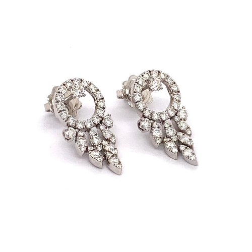 21 - A PAIR OF FANCY DIAMOND DROP EARRINGS <br /><br />Crafted in 18K White Gold, these Fancy Diamond Dro...