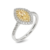A MARQUISE CUT CAPE YELLOW DOUBLE HALO DIAMOND RING