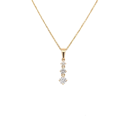 33 - A GRADUATING DIAMOND DROP PENDANT <br /><br />Crafted in 14K Yellow Gold, the Graduating Diamond Dro...