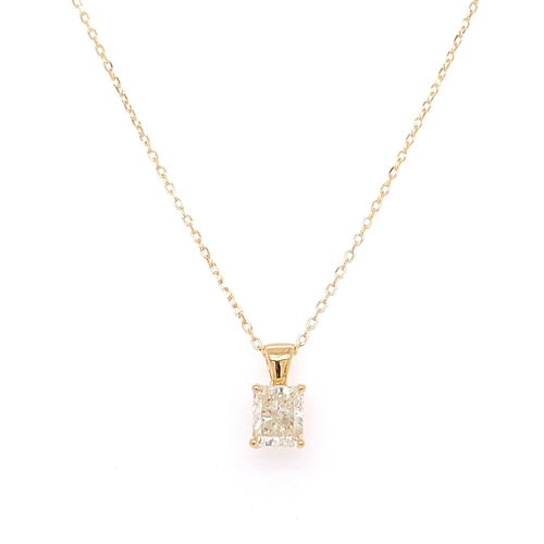 35 - A 4 CLAW SOLITAIRE DIAMOND PENDANT <br /><br />A 4 Claw Solitaire Diamond Pendant in 18K Yellow Gold...