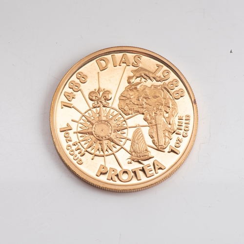 110 - A GOLD PROOF PROTEA DIAS 1 OZ  OUNCE BOXED Minted 1988