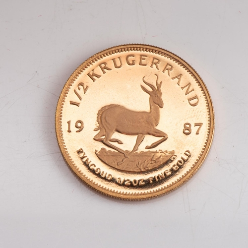 117 - A GOLD PROOF KRUGERRAND 1/2 OZ  OUNCE BOXED Minted  1982