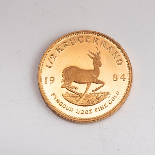 119 - A GOLD PROOF KRUGERRAND 1/2 OZ  OUNCE BOXED Minted 1985