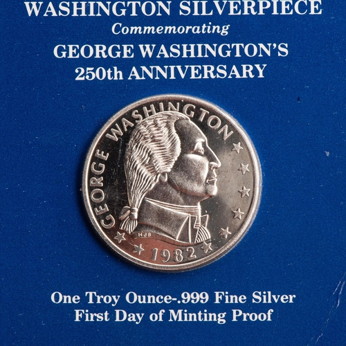 13 - THE WASHINGTON SILVERPIECE George Washington's 250th anniversary, weight 1 troy ounce