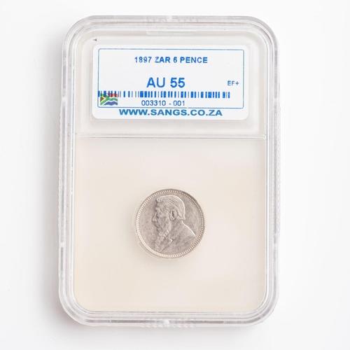 25 - A GRADED 1897 ZAR 6 PENCE COIN AU 55