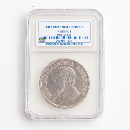 28 - A GRADED 1892 ZAR 5 SHILLINGS  STERLING SILVER COIN  F Details  Polished...