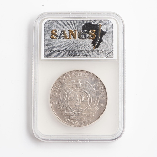 30 - A GRADED 1892 ZAR 5 SHILLINGS  STERLING SILVER COIN  F Details Ex Mount