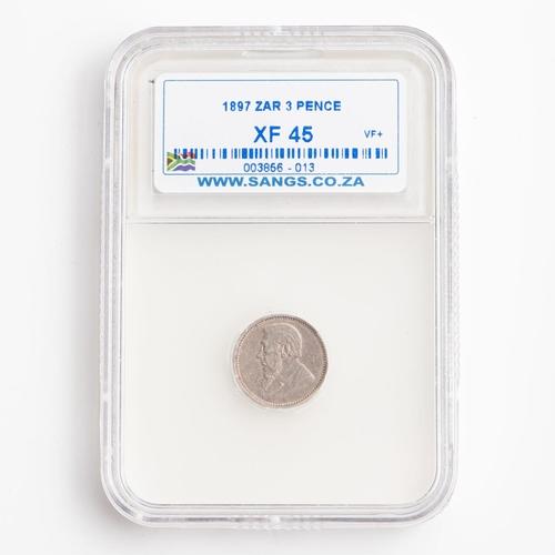 32 - A GRADED 1895 ZAR 3 PENCE COIN  XF 45
