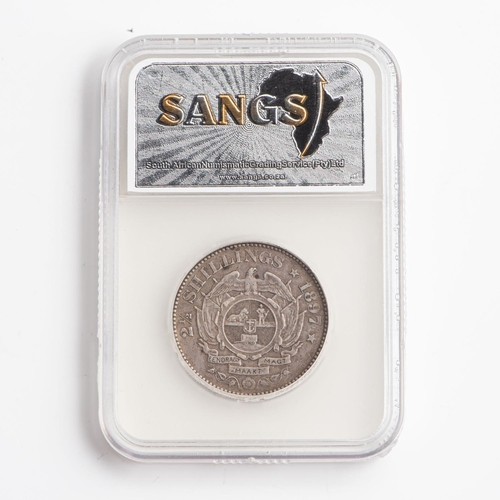 34 - A GRADED 1897 ZAR 2.5 SHILLINGS STERLING SILVER COIN XF40...