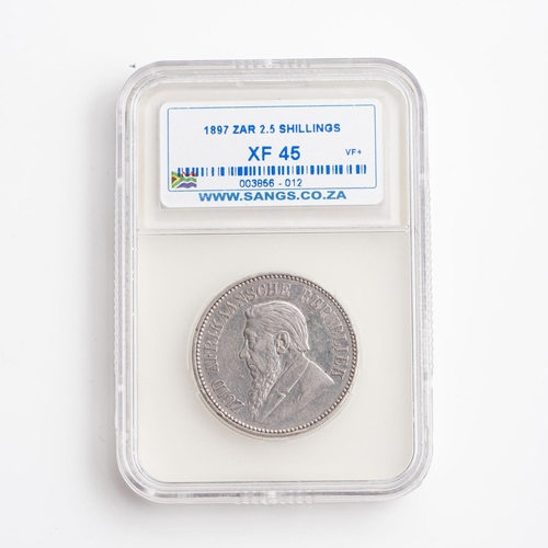 35 - A GRADED 1897 ZAR 2.5 SHILLINGS STERLING SILVER COIN XF45...