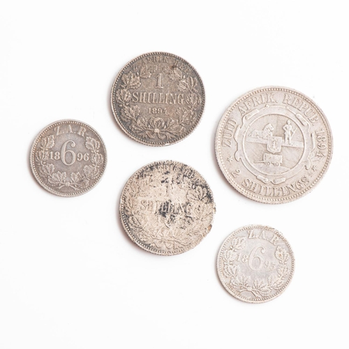 44 - A COLLECTION OF ZAR SHILLINGS including 2 x 1 shilling, 1 x 2 shillings and 2 x 6 pence             ...