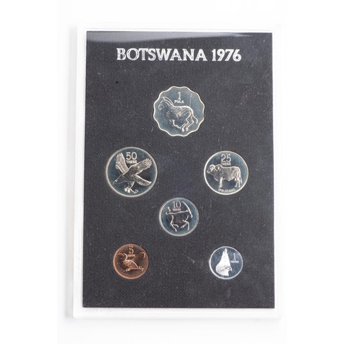 52 - THE FIRST COINAGE OF THE REPUBLIC OF BOTSWANA SET 1976 Perspex sleeve