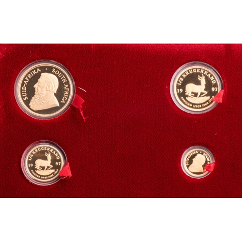 74 - A GOLD PROOF KRUGERRAND FULL SET IN WOODEN BOX Encapsulated, minted 1997