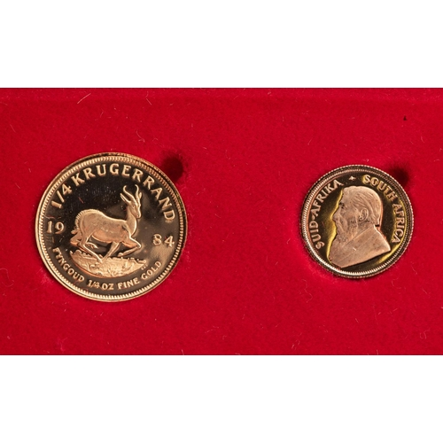 88 - A GOLD PROOF KRUGERRAND 1/4 OUNCE AND 1/10TH OUNCE BOXED Minted 1984