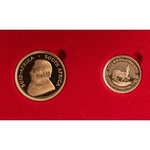 89 - A GOLD PROOF KRUGERRAND 1/4 OUNCE AND 1/10TH OUNCE BOXED Minted 1986