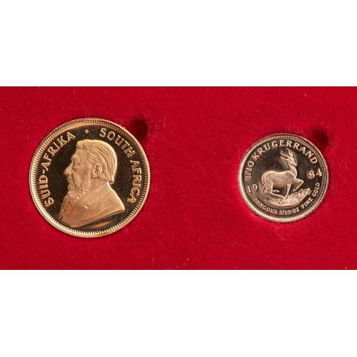 91 - A GOLD PROOF KRUGERRAND 1/4 OUNCE AND 1/10TH OUNCE BOXED Minted 1984
