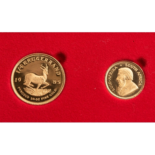93 - A GOLD PROOF KRUGERRAND 1/4 OUNCE AND 1/10TH OUNCE BOXED Minted 1985