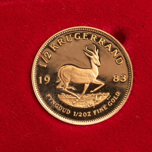 97 - A GOLD PROOF KRUGERRAND 1/2 OZ  BOXED Encapsulated, minted 1983