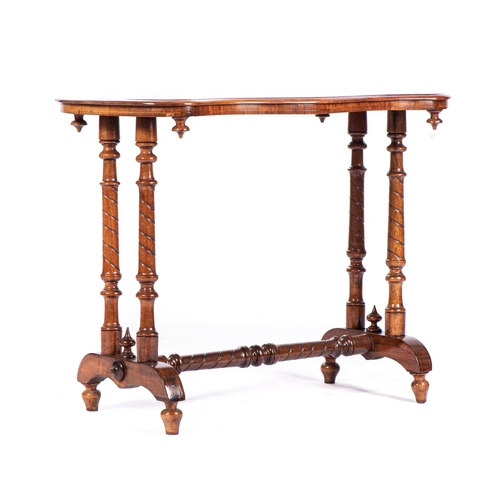 16 - A VICTORIAN WALNUT STRETCHER TABLE...