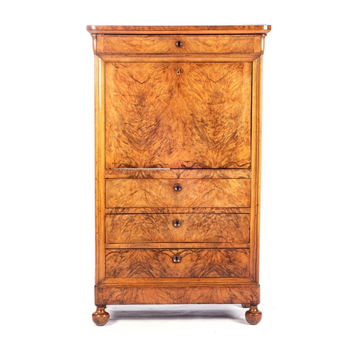 23 - A GERMAN WALNUT SECRETAIRE A ABATTANT, 19th CENTURY...