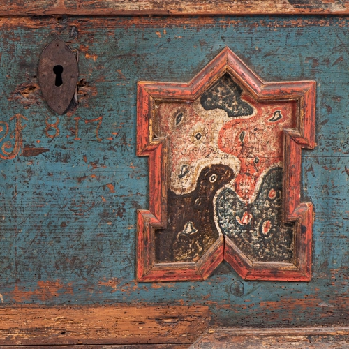 34 - A CONTINENTAL PAINTED OAK RECTANGULAR CHEST, 18th/19th CENTURY...