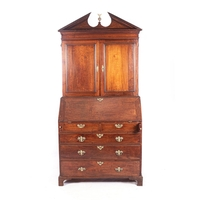 A GEORGE III OAK BUREAU BOOKCASE, EARLY 19th CENTURY
