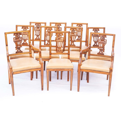 54 - A SET OF EIGHT MAHOGANY DINING CHAIRS...