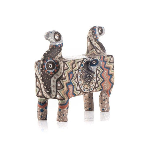 57 - HENRIETTE NGAKO (SOUTH AFRICAN 1943 - ): AN EARTHENWARE CLAY FIGURE OF A MYTHICAL CREATURE...