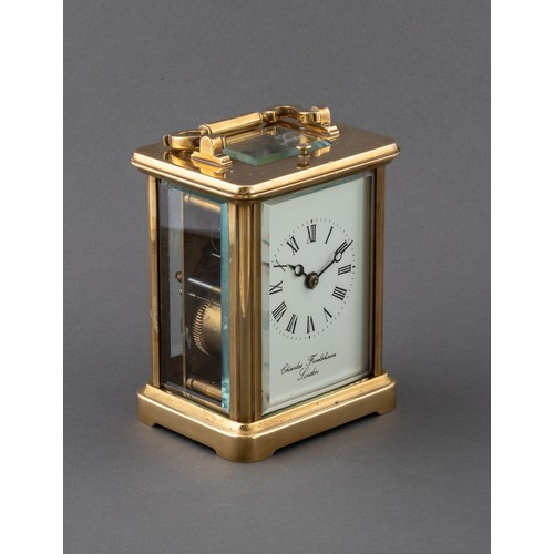 947 - A BRASS CARRIAGE CLOCK, CHARLES FRODSHAM, LONDON