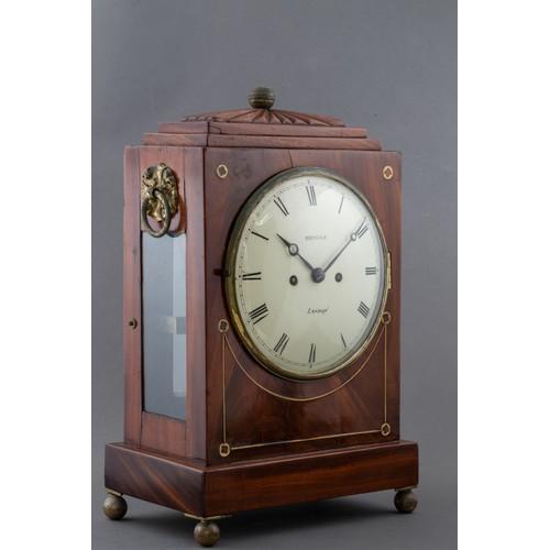948 - A MAHOGANY AND BRASS-INLAID BRACKET CLOCK, BRIGGS LONDON