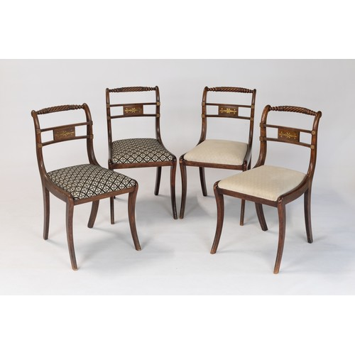 371 - A SET OF FOUR REGENCY ROSEWOOD AND BRASS INLAID CHAIRS