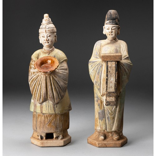 779 - A PAIR OF CHINESE SANCAI-GLAZED POTTERY FIGURES OF ATTENDANTS, MING DYNASTY, 1368 - 1644