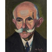 Maggie Laubser (South Africa 1886 – 1973): PORTRAIT OF A MAN WITH WHITE MOUSTACHE
